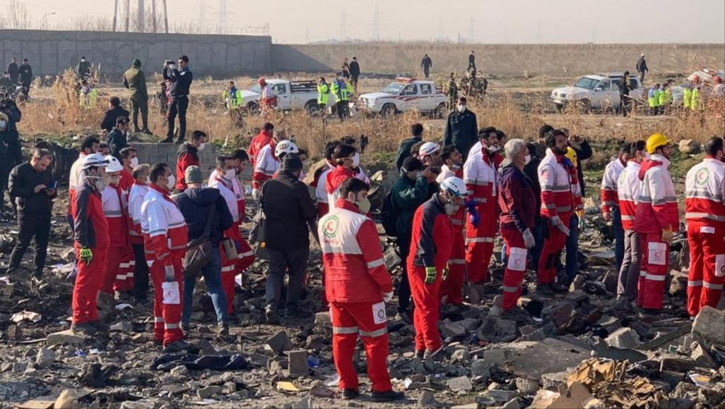 Rescue teams at the crash site south of Tehran, Image Source: (Anatolia)