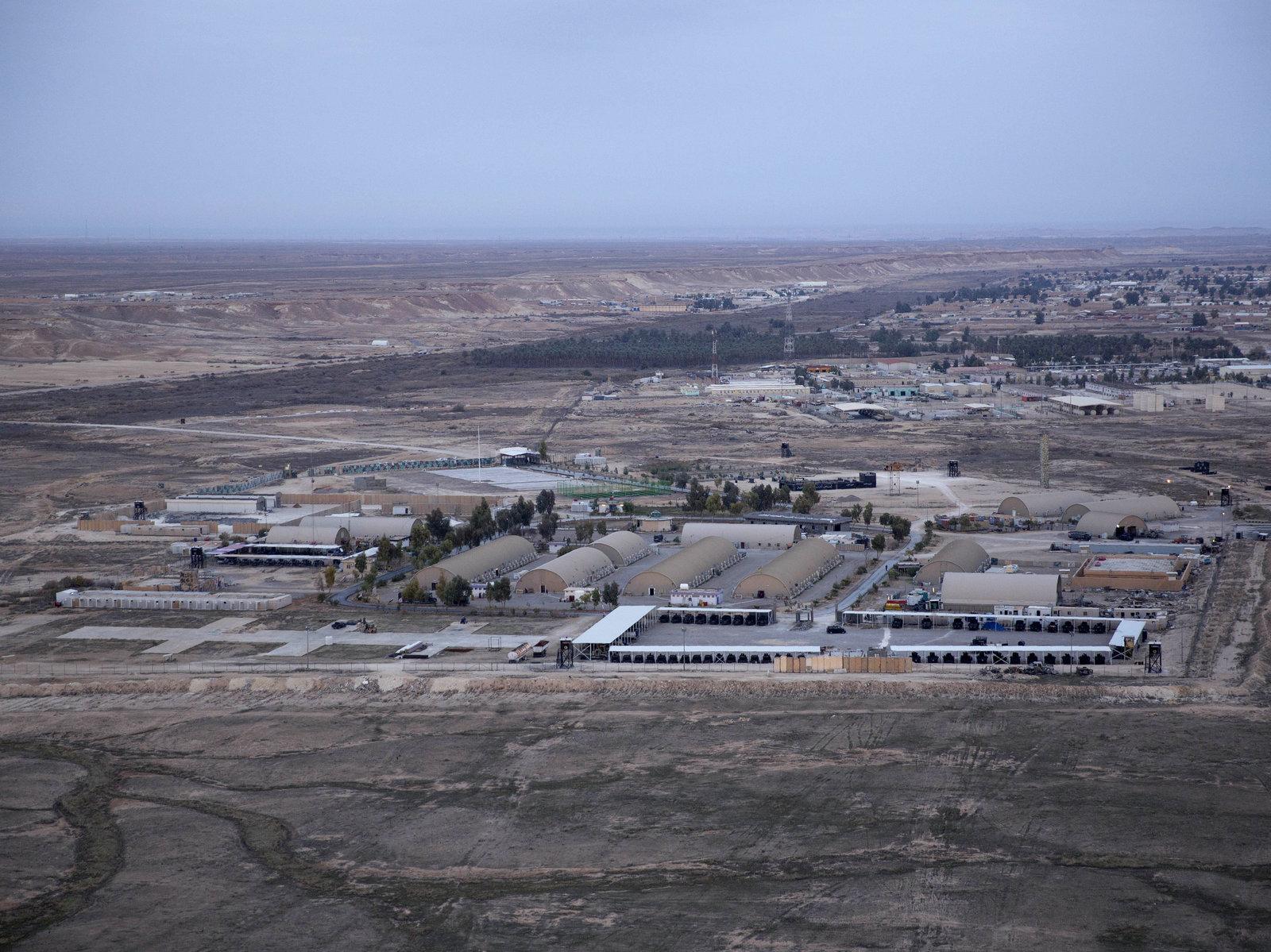 This aerial photo shows Ain al-Assad air base in the western Anbar desert, Iraq, in December 2019. Nasser Nasser/AP