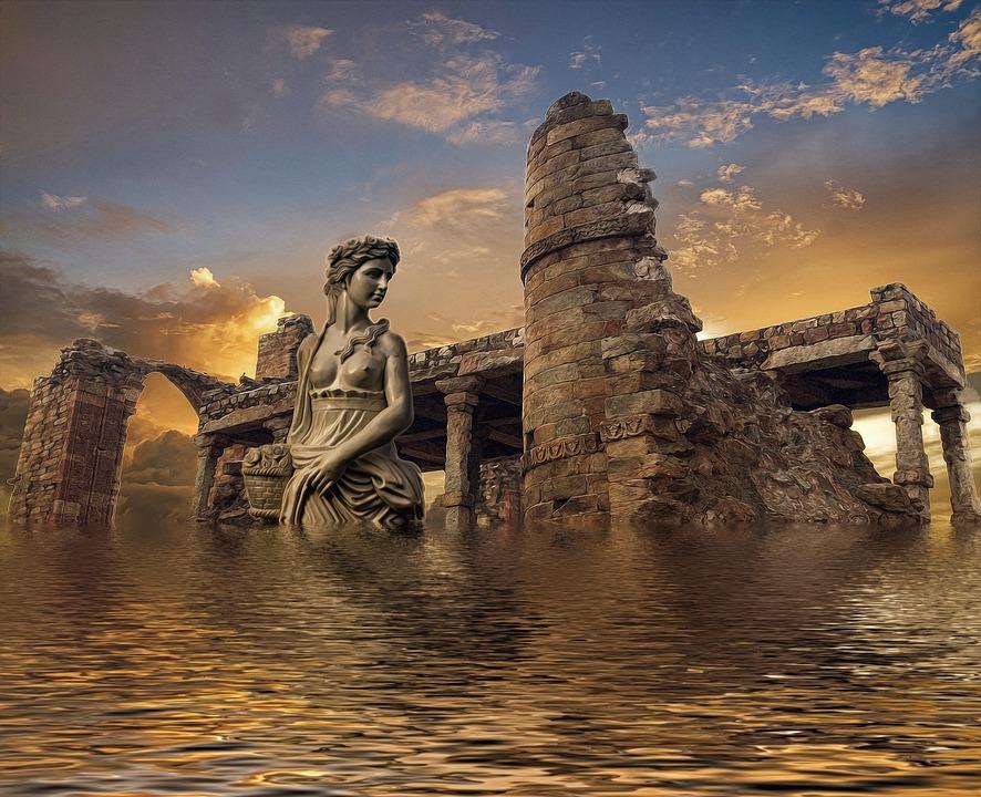 An imaginary drawing of Atlantis Continent